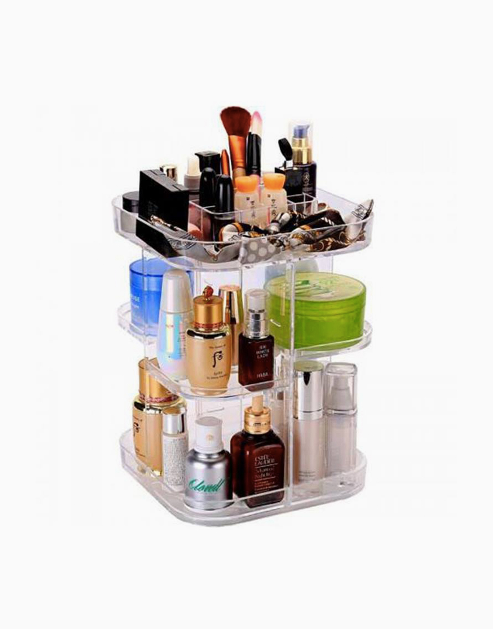Square Rotating Acrylic Makeup Organizer by Brush Works