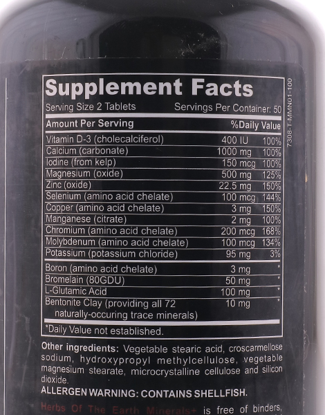 Minerals+ 1000mg Calcium Magnesium Zinc D3 (100 Tablets) by Herbs of the Earth