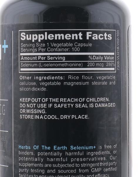 Selenium 200mcg (100 Vegan Capsules) by Herbs of the Earth