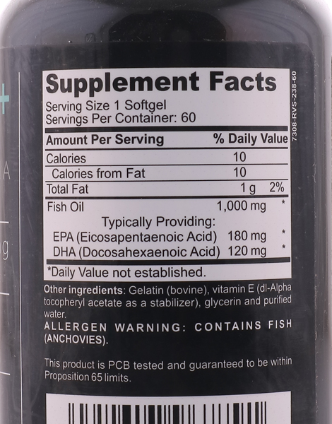 Omega 3 Fish Oil Premium, Highly Concentrated with Vitamin E (60 Softgels) by Herbs of the Earth