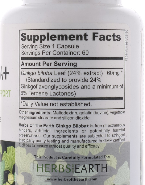 Ginkgo Biloba for Optimal Brain Support (60 Capsules) by Herbs of the Earth