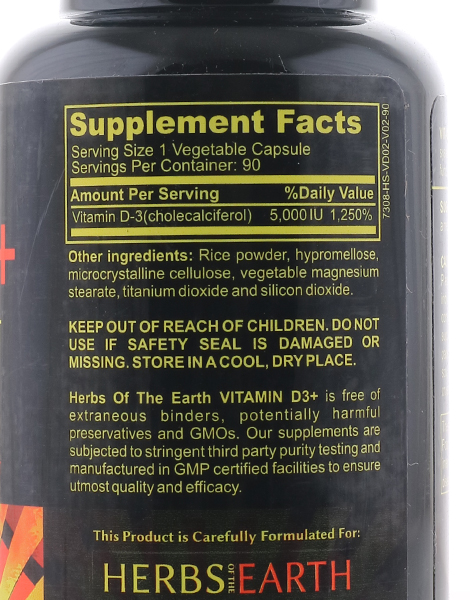 Vitamin D3 5,000 IU for Healthy Muscle Function (90 Veggie Capsules) by Herbs of the Earth
