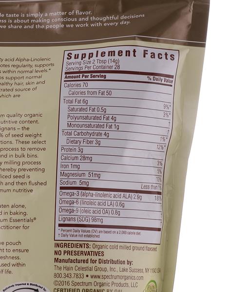 Organic Ground Premium Flaxseed (14oz) by Spectrum