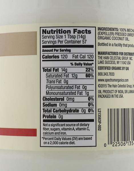 Organic Unrefined Virgin Coconut Oil Value Size (29oz) by Spectrum