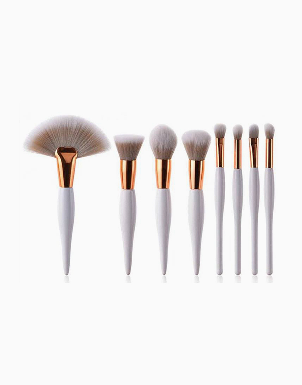 8 Pieces White On Point Makeup Brush Set by Brush Works
