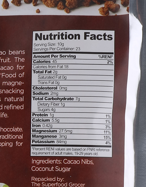 Cacao Nibs Coated in Coconut Sugar 1/2 lb. (227g) by The Superfood Grocer
