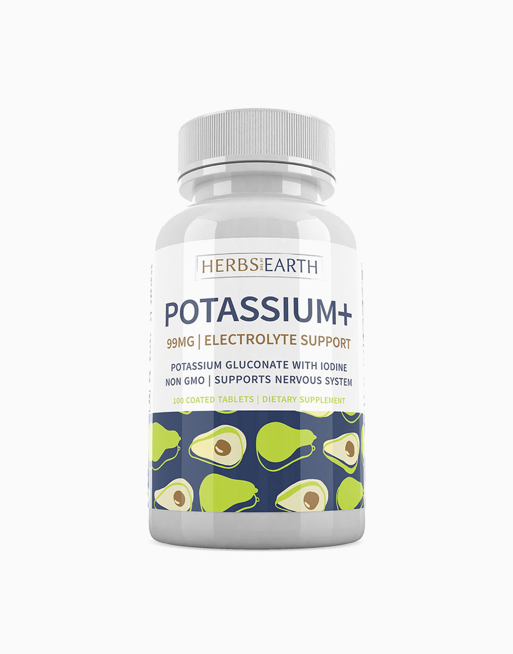 Potassium Gluconate + Iodine Nervous System Support (100 Tablets) by Herbs of the Earth