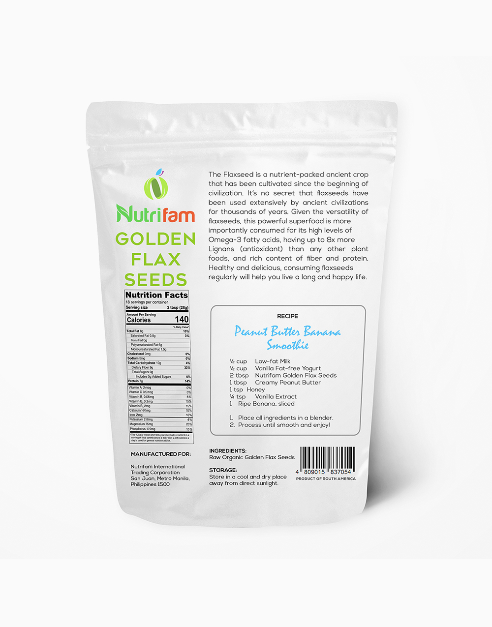 Nutrifam Organic Golden Flax Seeds (500g) by Nutrifam
