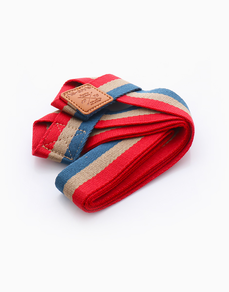 Stripes Yoga Mat Sling by Feet and Right | Red, Blue, and Tan