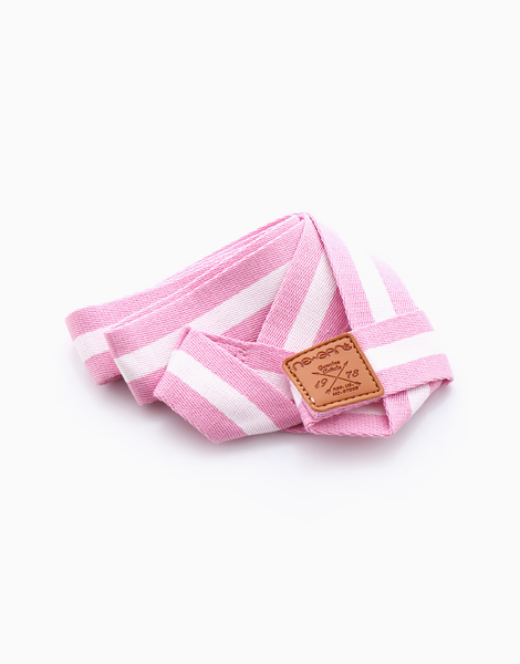 Stripes Yoga Mat Sling by Feet and Right | Pink and White