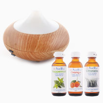 Pure bliss ultrasonic aroma diffuser w 60ml water soluble oil trio bundle %28scents  orange  peppermint  citronella%29