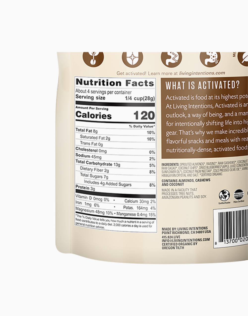 Dark Cacao Activated Superfood Nut Blend by Living Intentions