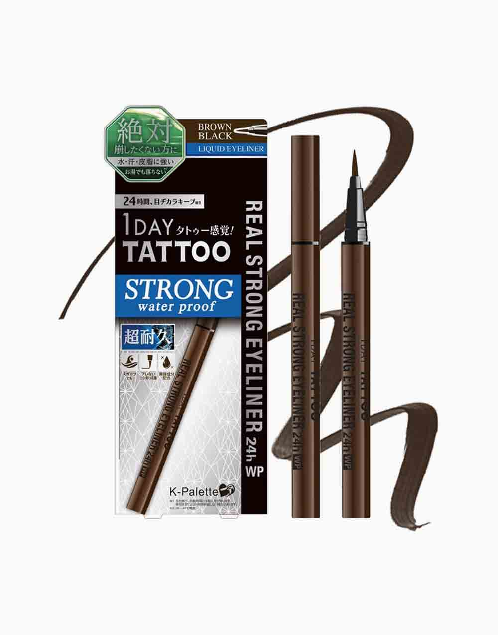 1Day Tattoo Real Strong Eyeliner 24H Waterproof by K-Palette | Brown Black