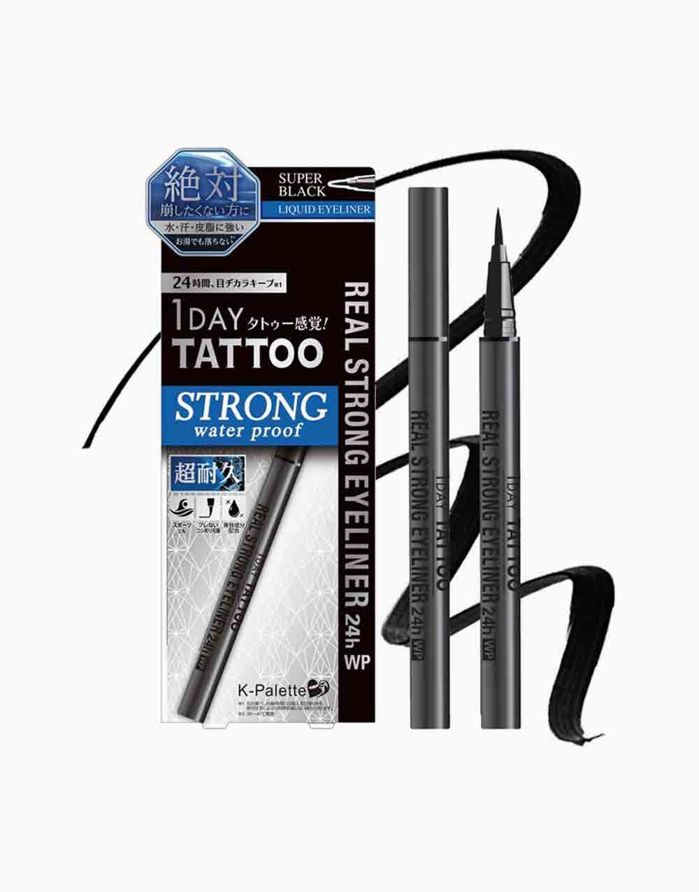 1Day Tattoo Real Strong Eyeliner 24H Waterproof by K-Palette | Super Black