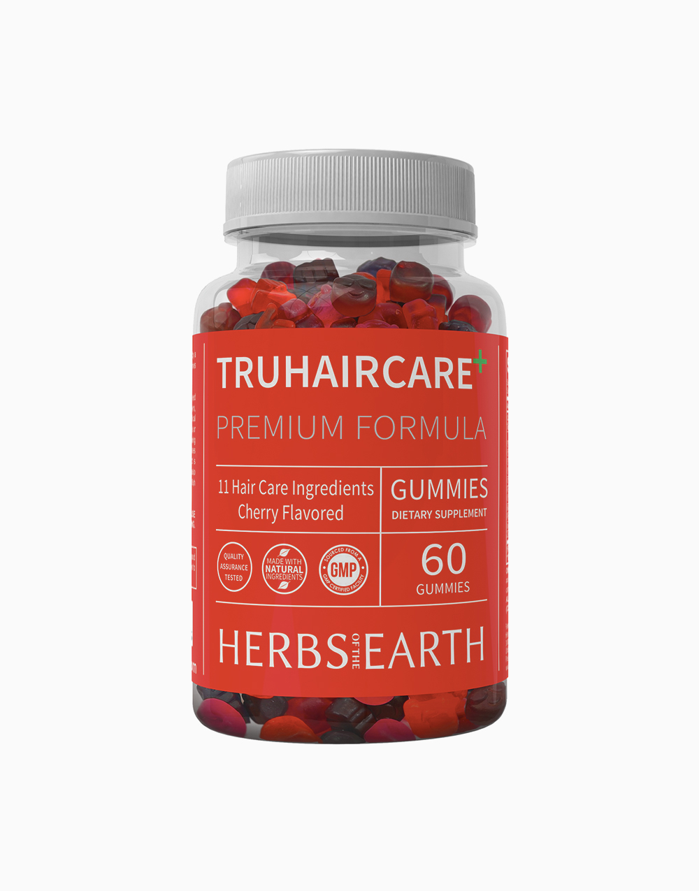 TruHairCare Hair Growth and Thickness Maximizer: Vegan Natural Hair Growth Vitamins (60 Cherry Flavored Gummies) by Herbs of the Earth