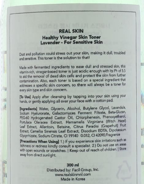 Healthy Vinegar Skin Toner - Lavender Toner by Real Skin
