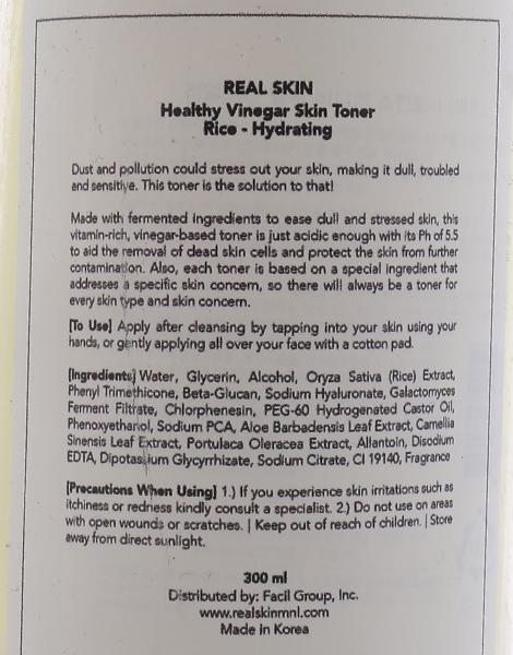 Healthy Vinegar Skin Toner - Rice Toner by Real Skin