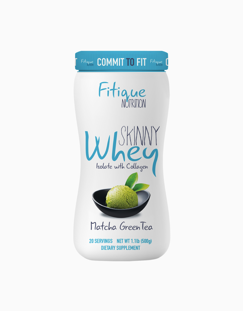 Skinny Whey Isolate With Collagen (Matcha Green Tea) by Fitique Nutrition
