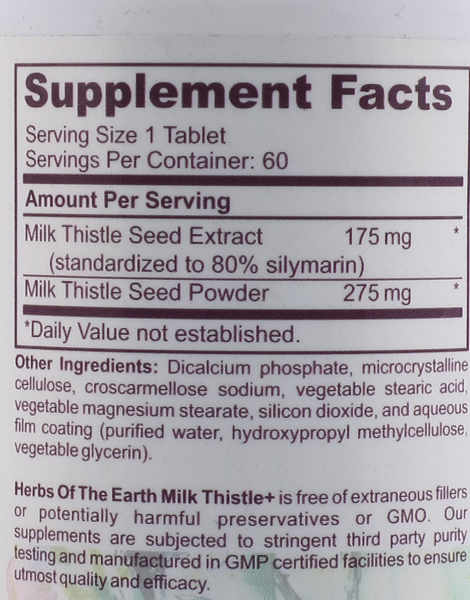 Milk Thistle, Pure Silymarin Seed Powder and Extract (60 Potent Tablets) by Herbs of the Earth