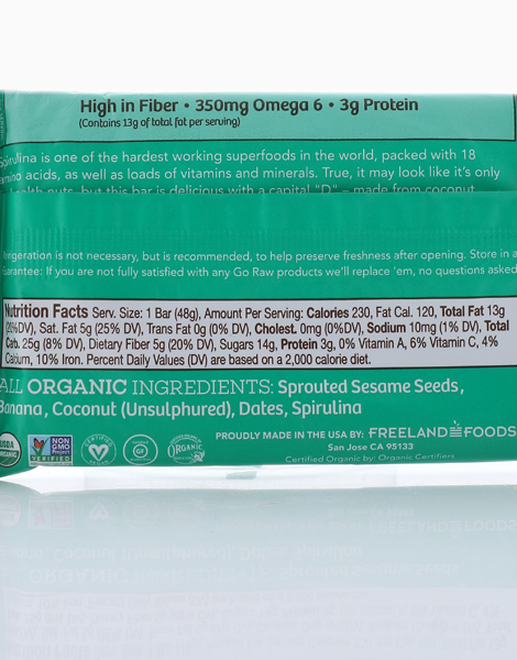 Sweet Spirulina Sprouted Bar (48g) by Go Raw