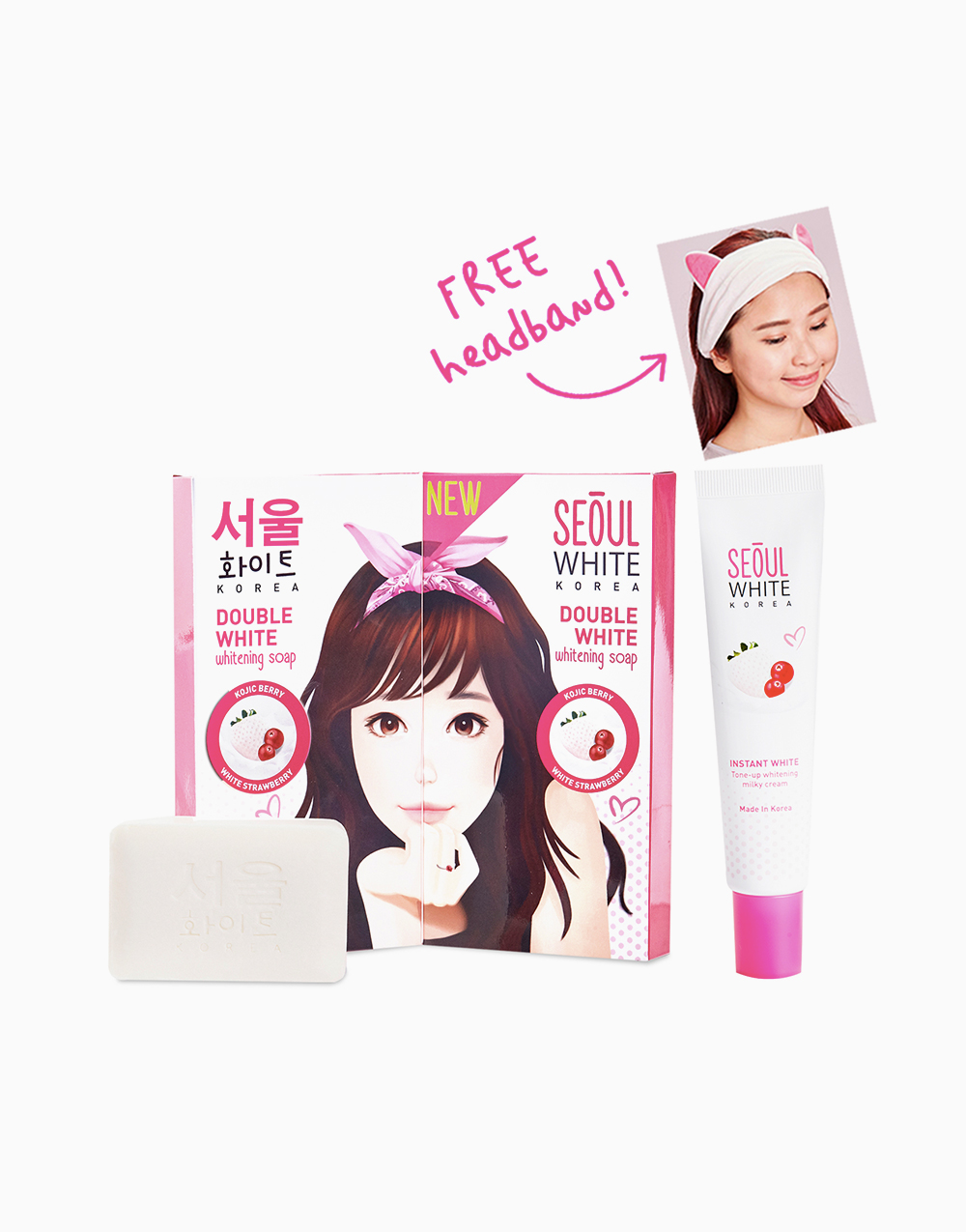 Online Exclusive: 2 Triple Pack Whitening Soap and Tone-up Whitening Cream FREE Hairband by Seoul White Korea
