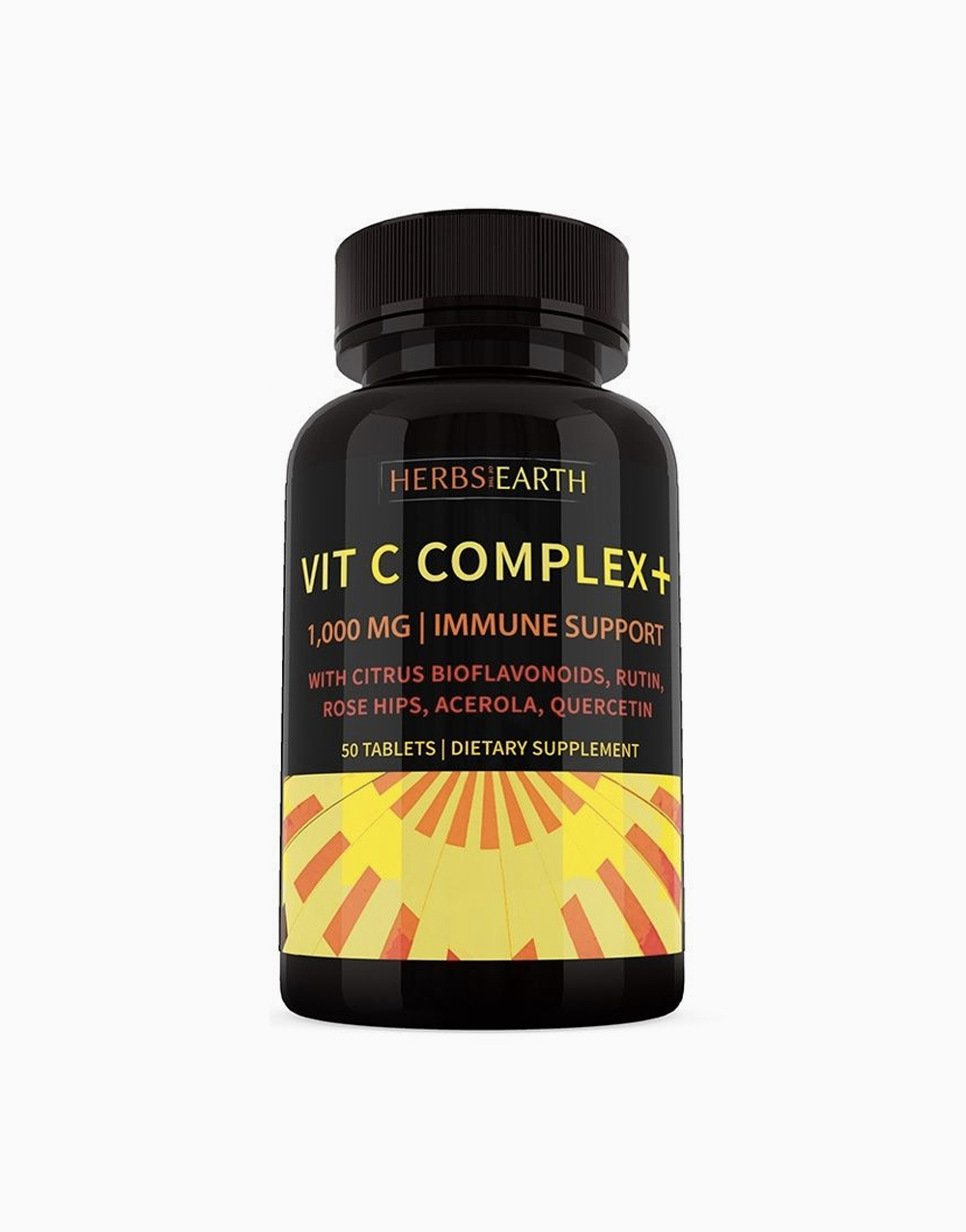 Vitamin C Complex with Citrus Bioflavonoids, Rose Hips, Acerola, Rutin, Quercetin, All Natural Immune Defender & Energy Booster (50 Tablets) (1000mg) by Herbs of the Earth
