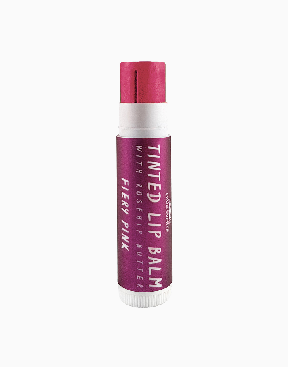 Tinted Lip Balm with Rosehip Butter in Fiery Pink by Diva White