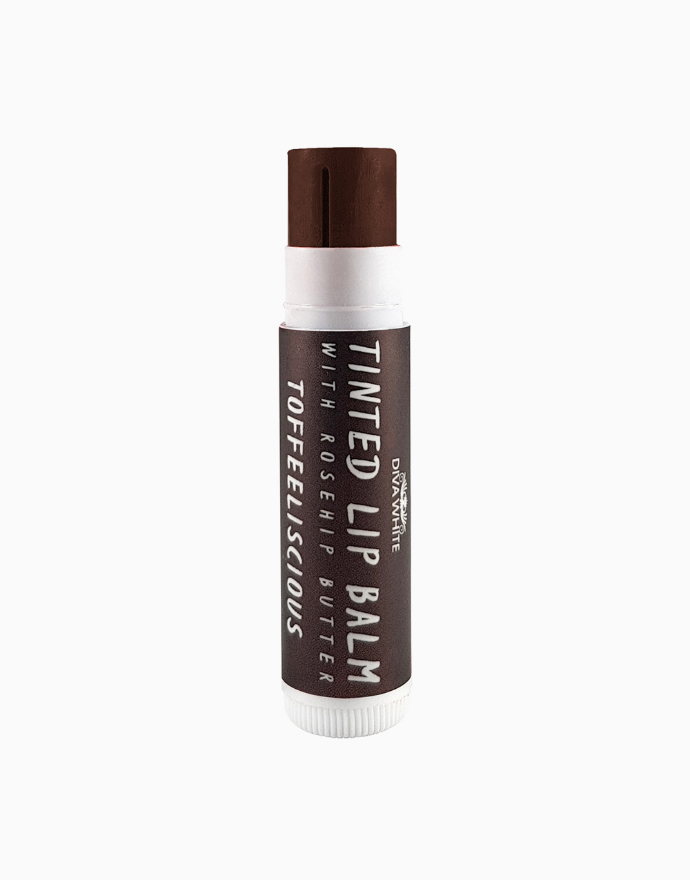 Tinted Lip Balm with Rosehip Butter in Toffeelicious by Diva White