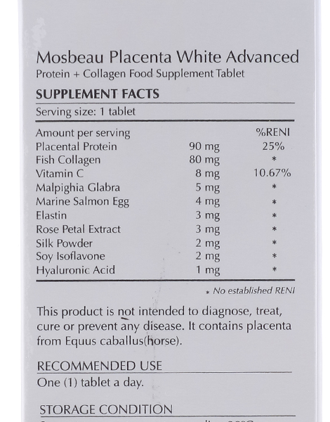 Placenta White Advanced Supplement (60s) by Mosbeau
