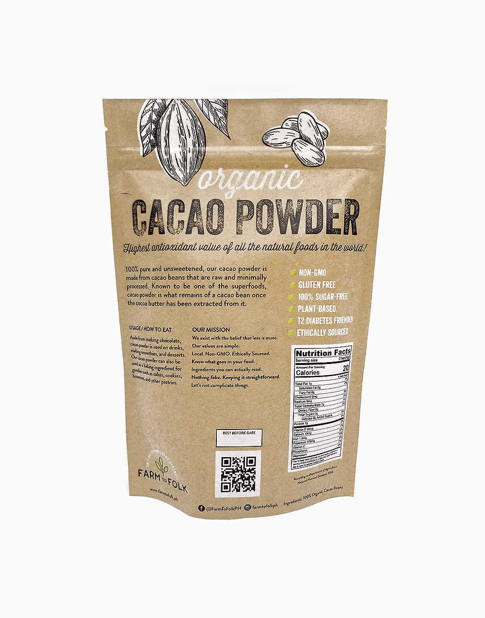 Organic Cacao Powder (250g) by Farm to Folk