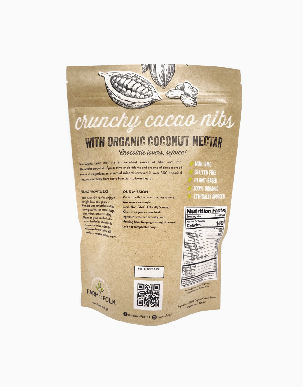 Crunchy Cacao Nibs with Organic Coconut Nectar (250g) by Farm to Folk