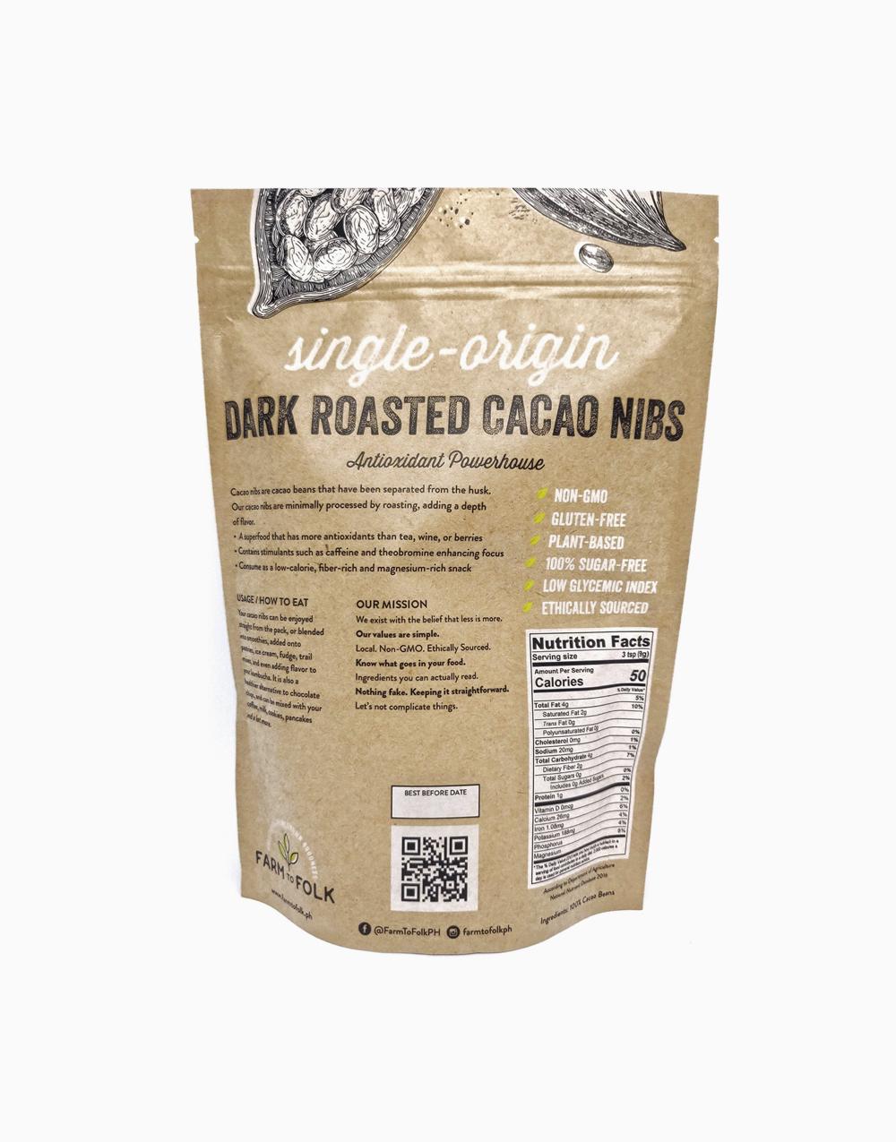 Organic Dark Roasted Cacao Nibs (500g) by Farm to Folk