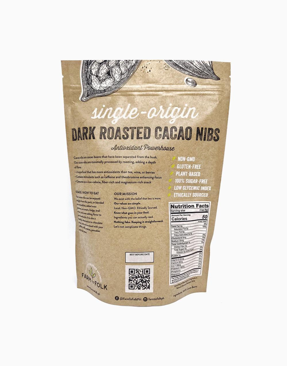 Organic Dark Roasted Cacao Nibs (250g) by Farm to Folk