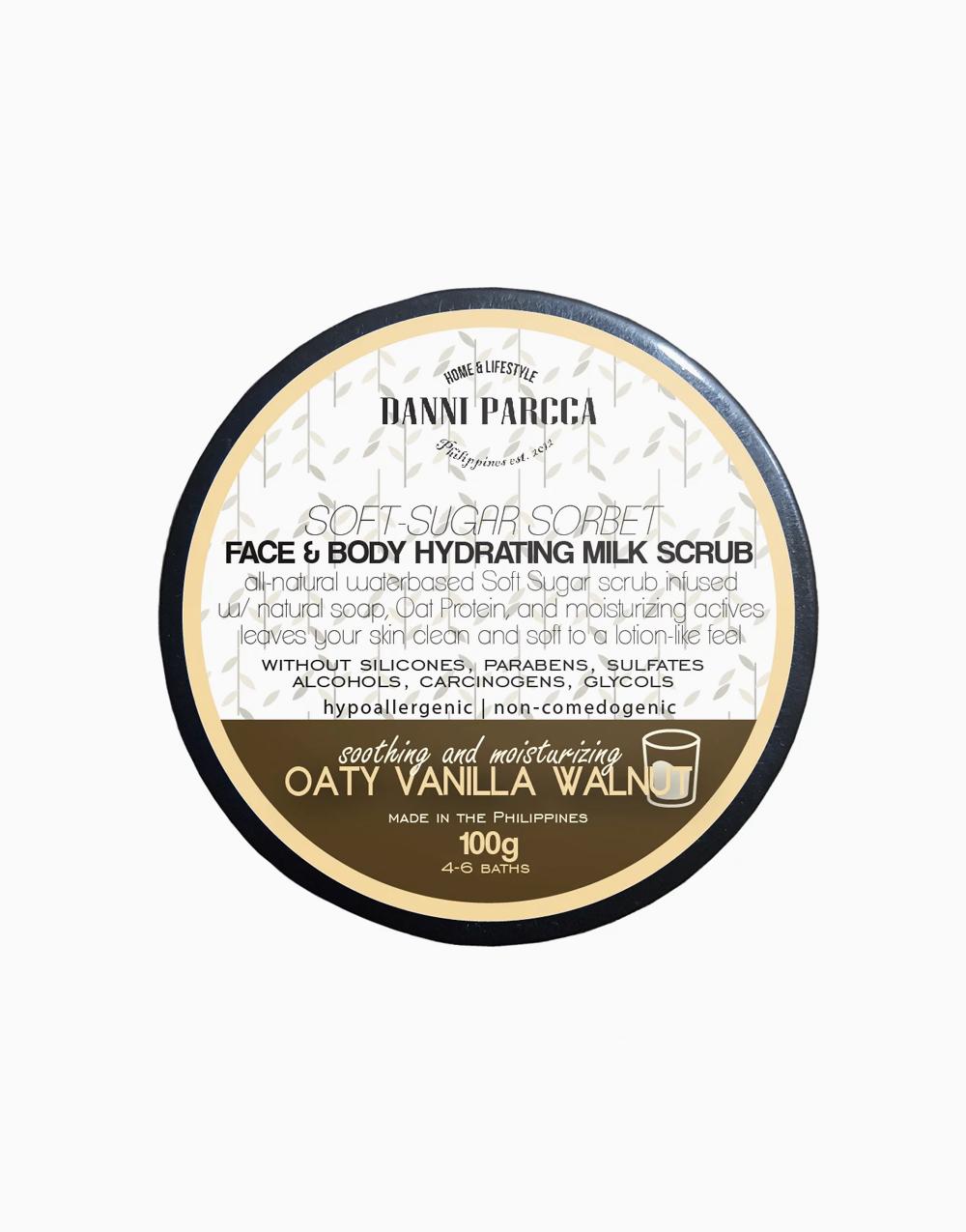 Face & Body Hydrating Milk Scrub in Oaty Vanilla Walnut (100g) by Danni Parcca