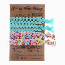 Little Twin Stars and Aqua Lace Hair Ties by Little Tree Palette