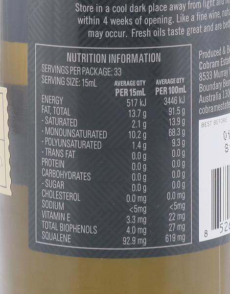 Ultra Premium Extra Virgin Olive Oil Hojiblanca (500ml) by Cobram Estate