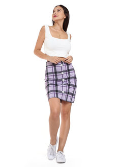 Button Down A-Line Skirt by Chic Beauthic