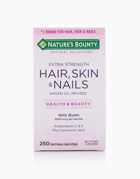 Extra Strength Hair, Skin & Nails Argan Oil Infused with Biotin (250 Softgels) by Nature's Bounty
