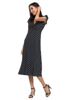 Polka Dress with Slit by Pink Lemon Wear