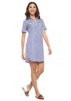 Striped Half Placket Shirt Dress by Glamour Studio