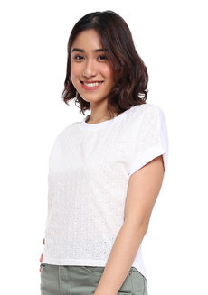 Continuous Sleeve Eyellet Lace Top by Glamour Studio