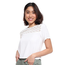 Short Sleeve Top with Eyelet Lace Detail by Glamour Studio