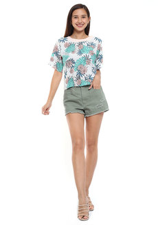 Tropical Printed Top with Neck Ribbing by Glamour Studio