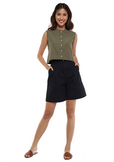 Penny Cropped Button Down Sleeveless Top by Loukha