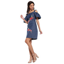 Gezana Embroidered Cold-Shoulder Shift Dress by Chelsea