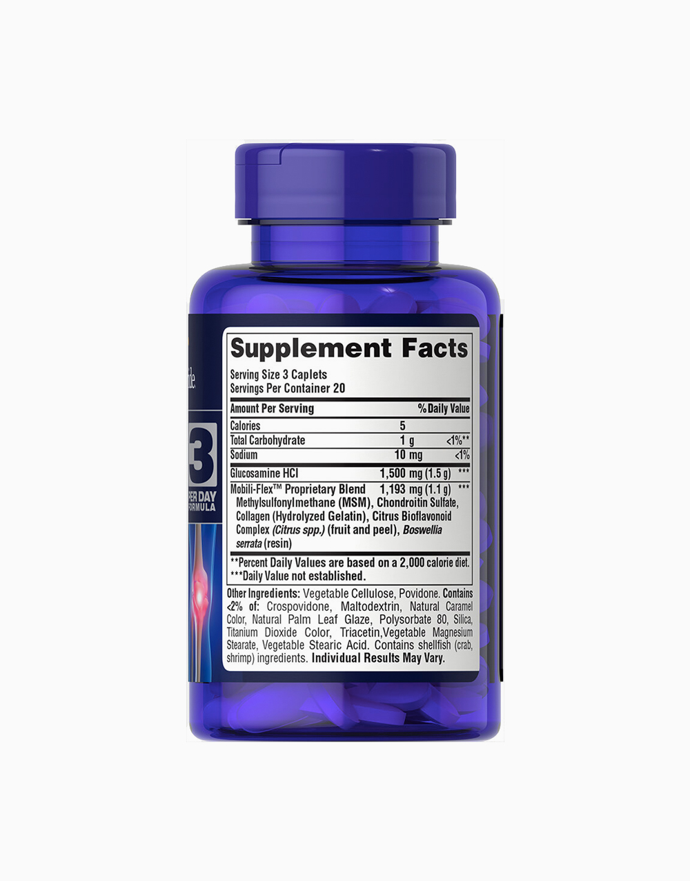 Glucosamine Chondroitin MSM Double Strength (60 Caplets) by Puritan's Pride