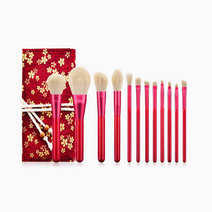 12pc Red Makeup Brush Set w/ Floral Pouch by Brush Works
