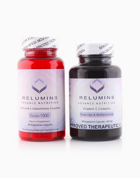 Relumins Set: Gluta 1000 (60 Caps) and Advance White Vitamin C Max Skin Whitening Complex (60 Caps) by Relumins