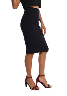 Kierra Ribbed Pencil Skirt by ShopMishia