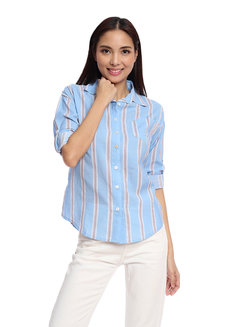 Striped Long Sleeve Button Down Shirt by Glamour Studio